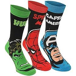 6 pares / 3pares de calcetines con diseños de superhéroes de Marvel, Spiderman, Hulk, Capitán América, Iron Man MARVEL CREW 3 PAIRS 41-45 Hombre
