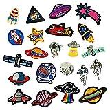 GloBal Mai Cosmic Planet Kombination Stickerei Bügelflicken Patch Spaceman UFO Satellite DIY Kleidung Kinder Flicken zum aufbügeln (22)