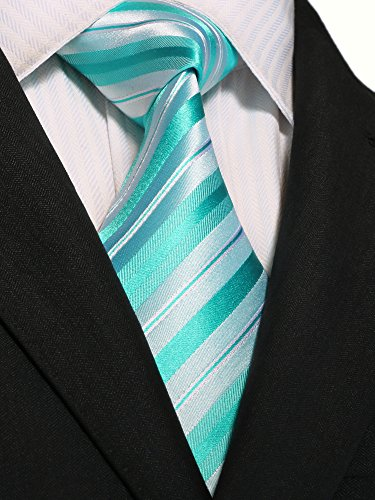 Landisun Stripe Hommes Soie Cravate Ensemble 18A83 Bright Green
