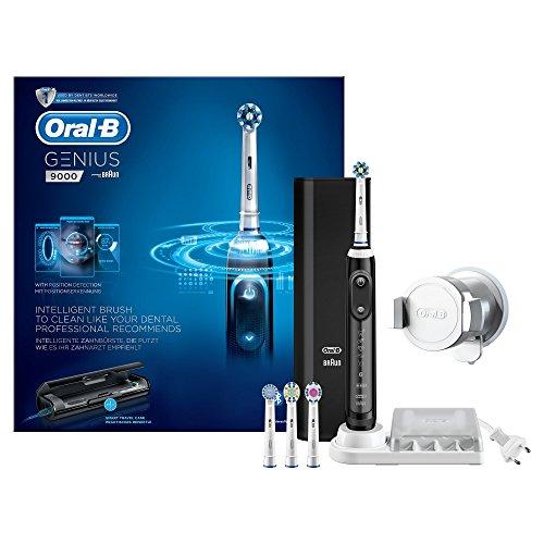 Oral-B Genius 9000 - Cepillo de dientes eléctrico, SmartRing, 6 modos, Bluetooth, 4 cabezales, estuche con USB, color negro