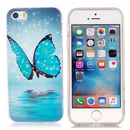 SainCat Coque Housse pour Apple iPhone 5s,Transparent Brillante Coque Silicone Etui Housse Brillante,iPhone 5 Silicone Case Soft Gel Cover Anti-Scratch Transparent Case TPU Cover,Fonction Support Prot papillon lumineux