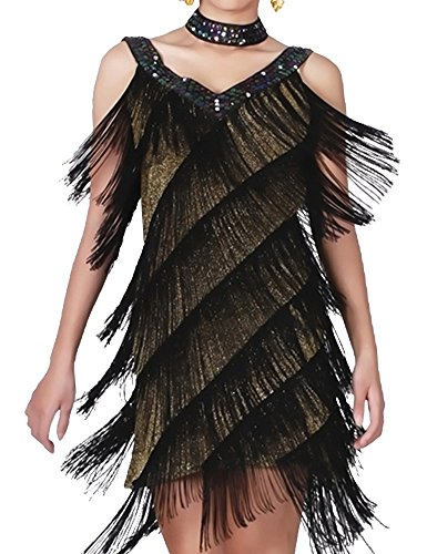 n Tiefer V 1920er Jahre Gatsby Fransen Flapper Kostüm Kleid S/M Gold Schwarz (Gold Weihnachten Kleider)
