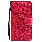 Huawei Mate 8 Hülle, Chreey [Prägung Indische Sonne] Lederhülle Sonnen Blume Brieftasche Wallet Tasche Magnet Flip Case Handyhülle Etui mit Kartenfach Ständer [Rot]