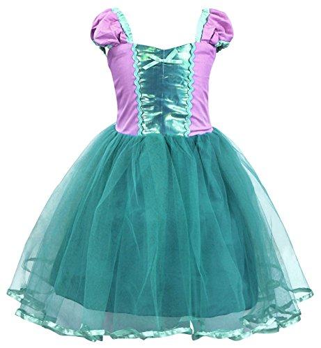 AmzBarley Prinzessin Kleine Meerjungfrau Kostüm Kinder Mädchen Ariel Tutu Kleid Party Cosplay Schick Kleider Halloween Karneval Geburtstag Ankleiden Kleidung Festzug Urlaub