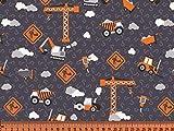 S&W - Stoff - Jersey Baustelle Fahrzeuge orange/braun -