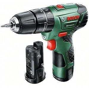 Bosch DIY Akku-Schlagbohrschrauber PSB 10,8 LI-2, 2 Akkus, Ladegerät, Doppelschrauberbit, Koffer (10,8 V, 1,5 Ah, 30 Nm)