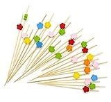 lumanuby 100 x bambú palillos de cóctel, frutas Sign cóctel decoración suministro lanzas cóctel Etiqueta de cóctel con color ciruela flor decoración para boda fiesta o uso en el hogar