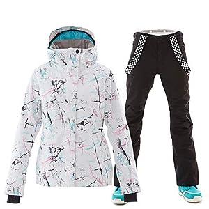 YOJOLO Damen Ski Jacken Hosen Wasserdicht Winddicht Atmungsaktiv Snowboard Snowsuit Ski Outfits Set,A,XS