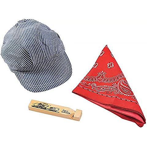 Pequeño ingeniero Sombrero Bandana & Whistle Set - Ingeniero Conjunto De Profesional Hat, Red Bandana Y Tren de Madera