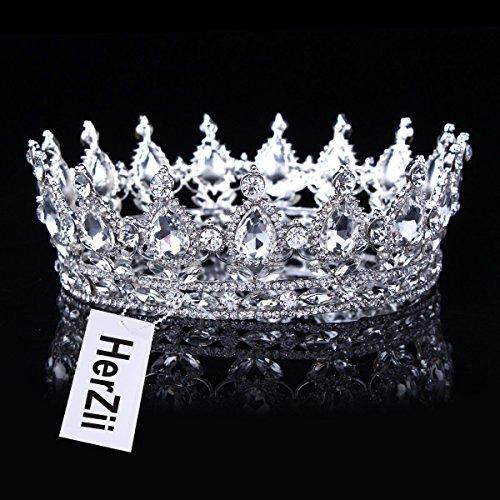 HerZii Prinzessinnen-Diadem mit Strass, für Hochzeit, Party-Zubehör, Kopfschmuck, Krone Weiß/Silber