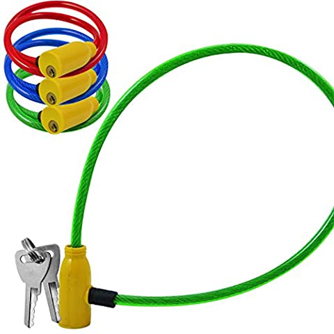 COILED BIKE CABLE LOCK BICYCLE CYCLE SECURITY COATED WIRE PADLOCK