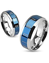 Paula & Fritz® Anillo de acero inoxidable acero quirúrgico 316L 6o 8mm de ancho de banda azul con números romanos disponibles Ring tamaños 47(15)–69(22) R de m0030
