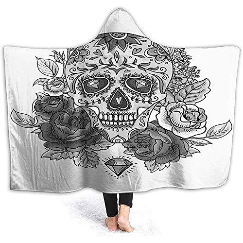 "L.R.D 50""x40"" Hooded Blanket Hood Cloak Cape Tragbare Kuscheldecke, einfarbiger Totenkopf mit Rosenblättern und Diamond Shape Folklore Festival"