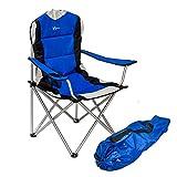 WUBOX Campingstuhl faltbar, leicht, stabil - Luxus Gartenstuhl für Camping - klappbar und mit Getränkehalter und Tragetasche in Blau und Grau, Farbe (Color):blau