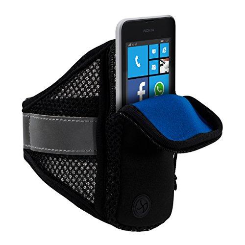 kwmobile Sport Jogging Armband für Smartphones mit Reißverschluss und praktischem Klettverschluss in Schwarz