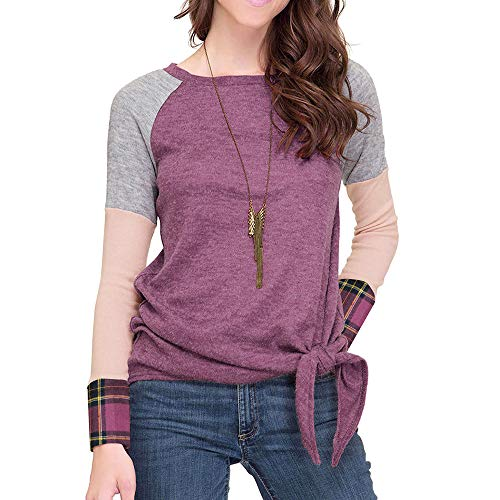 GreatestPAK Damen Plaid T-Shirt Nähen Saum Geknotet Tops Bluse - Dye Plaid Shirt