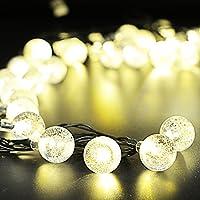 Aube all'aperto Luci della Stringa Solare, 19,7 FT/6M 30 LED Bianco caldo Palla di cristallo Natale Luci Globe per Giardino Il percorso, Partito, Camera da letto Decorazione