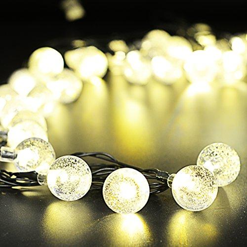 Auben 30er LED Solar Lichterkette Garten Globe Außen Warmweiß 6 Meter, Solar Beleuchtung Kugel für Party, Weihnachten, Outdoor, Fest Deko - Tree Friends-halloween Die Happy