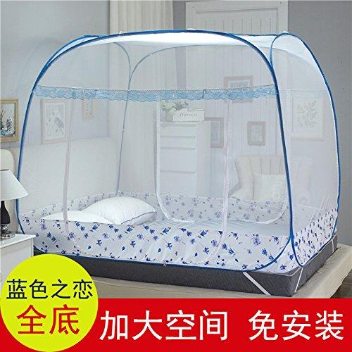 Preisvergleich Produktbild Mayihang Moskitonetz Mongolei Netze drei Tür 1.2 Meter freie Installation von 1.5 Party oben Reißverschluss unten Klappbare 1,8 m Doppelbett Home, die Liebe der Blau - Alle unten, 1,2 m (4 Fuß) Bett