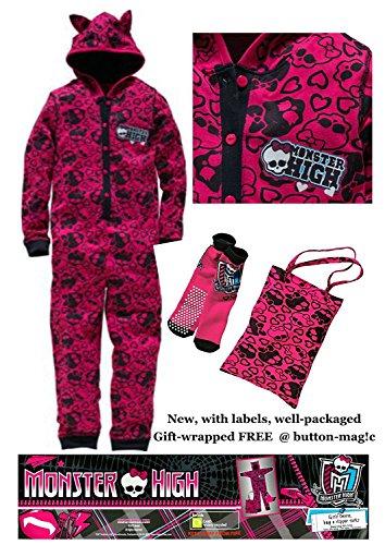 Monster High Mädchen Einteiler Sleepover Kit–Set enthält einen Kapuzen Einteiler/All-in-One Pyjama * einer passenden rutschfeste Slipper Socken und ein Tasche * NEU mit Etiketten * Lizenzware (Monster High Blue)