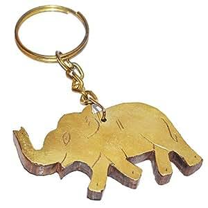 Petit Bois Forme d'éléphant porte-clés