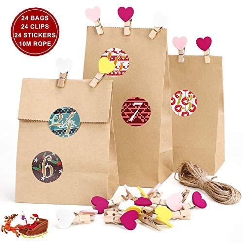 RATEL Sacchetti di Carta per Il Calendario-24 Carta Kraft Marrone, 24 adesivi per calendario dell'Avvento, 24 morsetti in legno, corda di lino 10M, per confezionare regali e cibo ai festiv