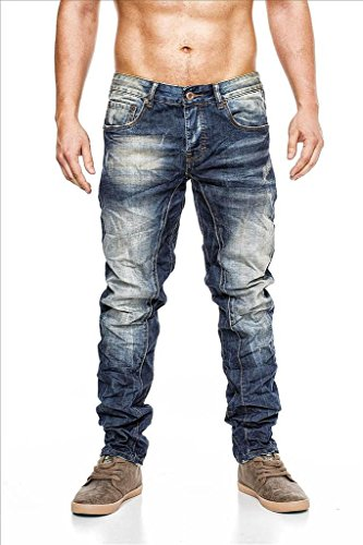 MEGASTYL Herren Hose Stone-Washed Vintage Jeans Blau Slim-Fit 5-Pocket 100% Baumwolle, GRÖSSE:W33 / L34 (Jean 5-pocket-easy Fit)