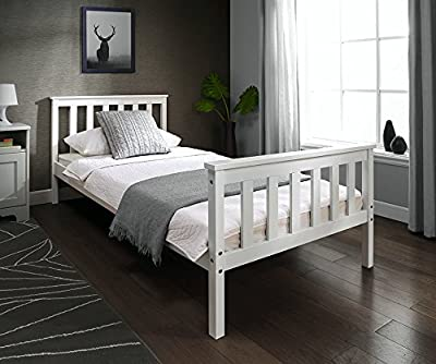 Single 3ft Wooden Bed Frame in WHITE & PINE Solid European Wood for Adult Kids Child or Children