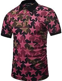 Yonbii Hommes manches courtes Golf Polo T-shirts Hauts Camouflage Étoile 3D Chemisier imprimé Casual