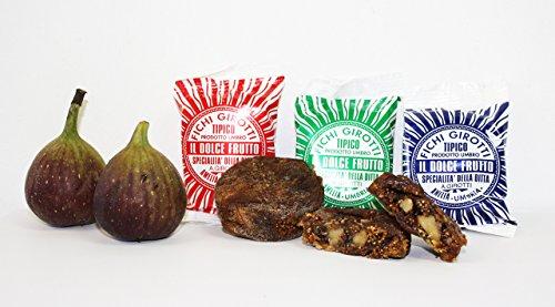 FICHI GIROTTI - Feigenpralinen 3 Stück (150gr), handwerklich gefüllt mit Schokolade, kandierten Früchten und Nüssen, Original italienische Premium Spezialität aus Umbrien