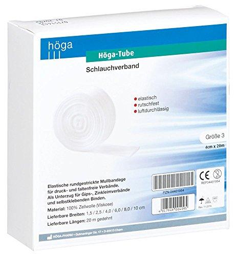Elastische Schlauchverband (Höga Tube Schlauchverband, elastisch, rutschfest, luftdurchlässig, Größe 3, 4 cm x 20 m, 1 Stück)