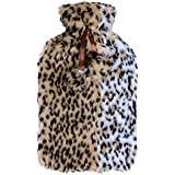 Large Hot Water Bottle With Beautiful Soft Leopard Animal Print Faux Fur Cover