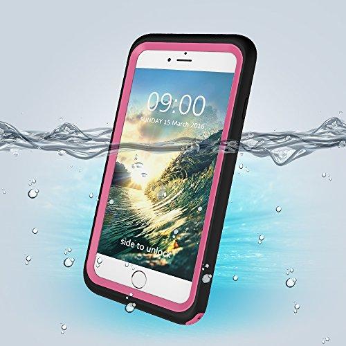 Wasserdichte Handy Hülle Case für iPhone 6 Plus / 6S Plus 5.5 Zoll, Skitic Ultradünn Gehäuse Unterwasserhülle Ganzkörper Outdoor Schwimmen Handyhülle Waterproof Staubdicht Stoßfest Hülle Tasche Bumper Rosa