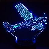 3D llevó la luz de la noche 7 cambio de color modelo de helicóptero lámpara de mesa usb aviones lámpara de cabecera avión luz de la noche regalo SHKQ