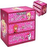 Unbekannt Schmuckkasten - mit 3 Schubladen - Disney die Eiskönigin - Frozen - inkl. Name - Mädchen - z.B. für Schmuck - Schmuckbox Schmuckkästchen / Schmuckdose - Box /..