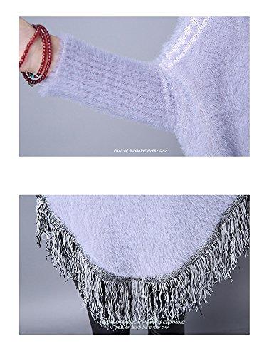 Printemps Élégant Poncho Lâche avec Franges Cape Tricoté au Crochet Imprimé Echarpe Tricot Col Rond Chandail Manches Longues Pull Chaude Châle Veste Manteau Femme YOSICIL Bleu Clair