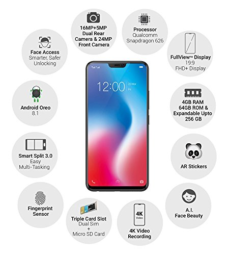 Vivo V9 (Pearl Black, 64GB) Without Offers