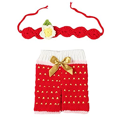 Zhhlaixing Baby Infant Crochet Knit Pants with Headband Costume Photo Photography Prop