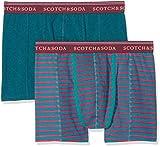 Scotch & Soda Herren Boxershorts Classic Boxer Short in Printed Stripe & solid Melange, 2er Pack, Mehrfarbig (Combo A 0217),Medium