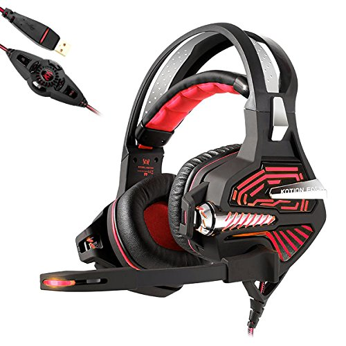 KOTION EACH GS100 USB Auriculares Gaming Cascos Sonido Envolvente 7.1 Vibración Bajo Pesado Gaming Headset Auriculares para jugadores de PC(Negro+Rojo)