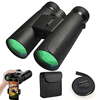 Binoculars for Adults Kids, 12X42 Professional HD Compact Durable Folding Waterproof & Fogproof Roof Prism Binocular Scope for Bird Watching Travel Stargazing Hunting Concerts Sports