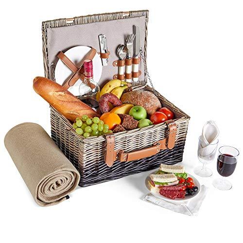 VonShef Korbgeflechter Picknickkorb für 2 Personen| Enthält Besteck (Gabel, Messer & Löffel), Teller, Weingläser, wasserdichte Decke, Servietten | Ideal für Strandausflüge & Camping