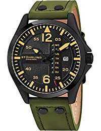 Stuhrling Original Mens Black Dial Japanese Quartz Aviator Pilot Military Designer Wrist-Watch Stainless Steel 9 mm Case with Riveted Embossed High Quality Genuine Leather Strap