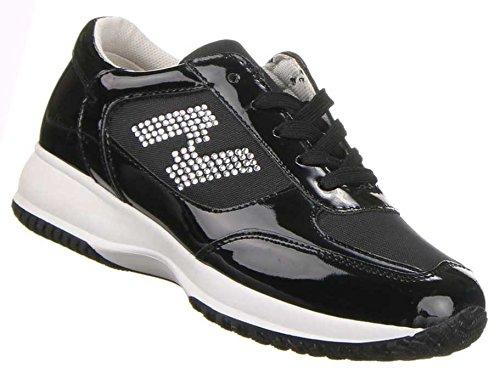 Damen Schuhe Sneaker Strass Stein Turnschuhe Sneaker , Weitere Farben: schwarz beige weiß, Weitere Größen: 36 37 38 39 40 41 Schwarz