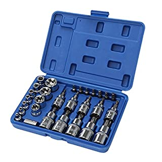 SANDS Combination Tamper Proof Torx Bits and External Male Female Torx Star Socket Bit Set E & T Sockets S2 and Cr-V Steel 30 Pcs