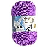 Lorsoul Multi Color Warm DIY Milch Baumwollgarn Baby-Pullover Garn Knitting Kinder Handgestrickte Strickdecke Crochet Yarn - lila