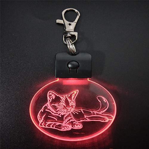 Gato dormido Acrílico luz de Noche lámpara de mesa mágica iluminación Color decoración Regalo Con batería de litio