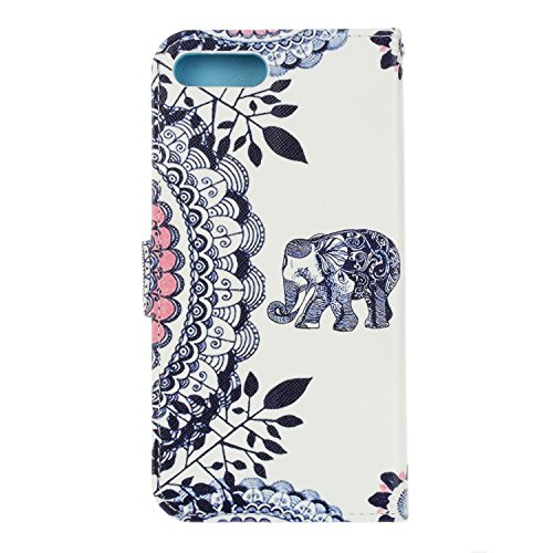 iPhone 7 Plus Hülle,iPhone 7 Plus Case,iPhone 7 Plus Cover - Felfy PU Ledertasche Strap Flip Standfunktion Magnetverschluss Luxe Bookstyle Ledertasche Nette Retro Mode Painted Muster Abdeckung Schutzh Elephant Mandala