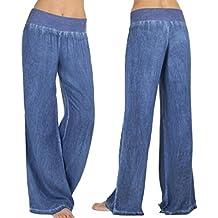 Pantalones Mujer,Pantalones Palazzo de pierna ancha de mezclilla casual de alta cintura para mujer