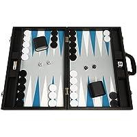 Juego de Backgammon Premium de 48 x 64 cm - Tablero Negro con Puntos Azules Astrales y Blancos